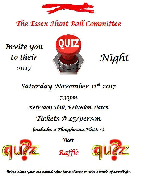 Quiz Night 2017 Essex Fox Hounds Uk Home Of The The Essex With